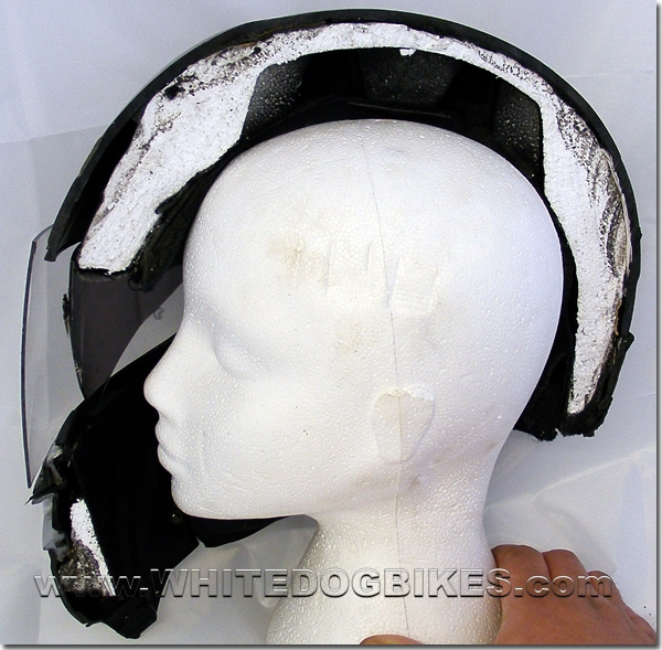 Helmet on the head