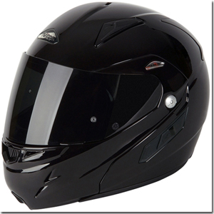 Flip front helmet closed