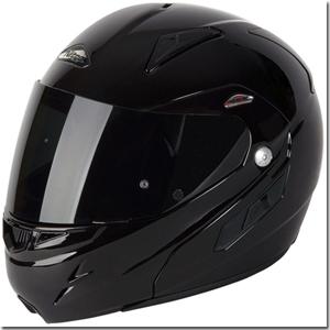 Flip front helmet closed