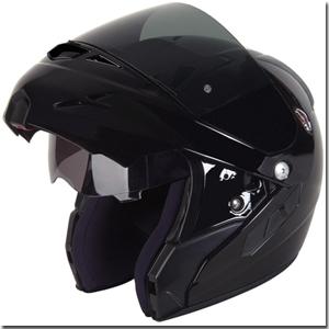 Flip front helmet open