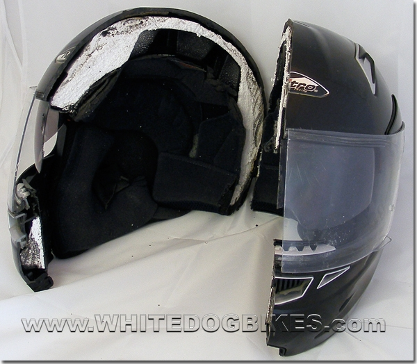 Helmet cut in half