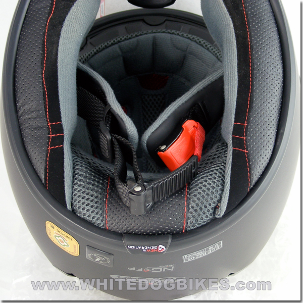 View of an open Micro Metric helmet buckle