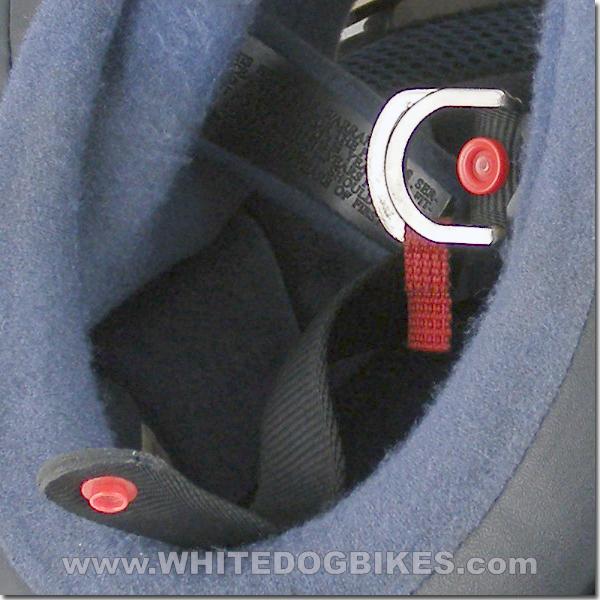 Open Double D helmet strap close up