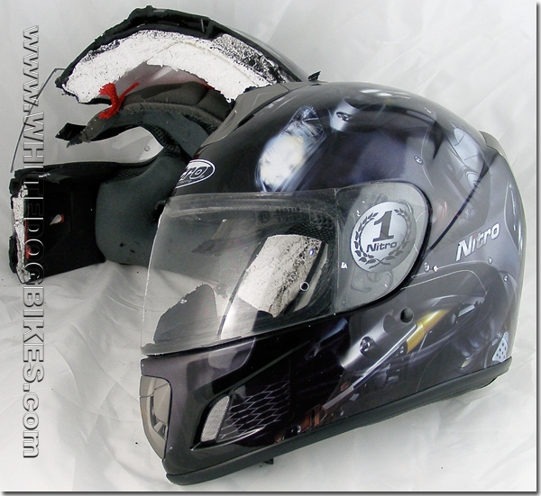 Inside a motorcycle helmet