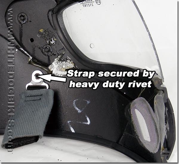 Helmet strap rivet