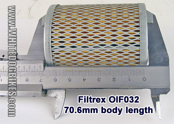 Body length of the Filtrex OIF032 filter