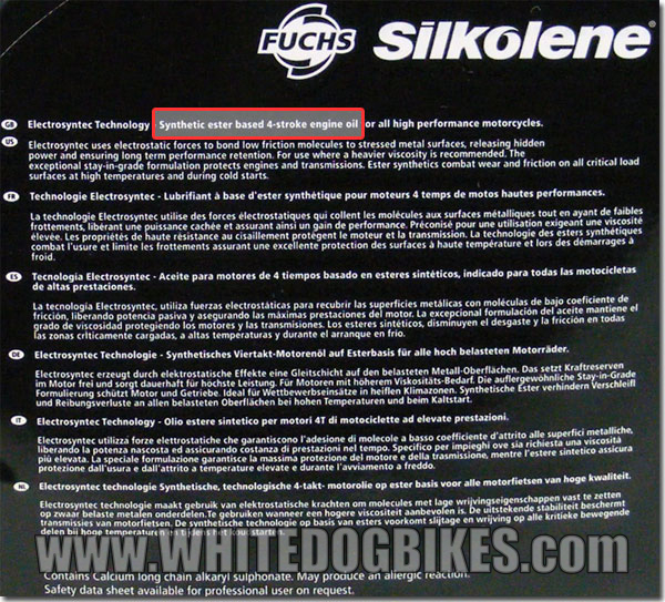 Silkolene synthetic oil - back
