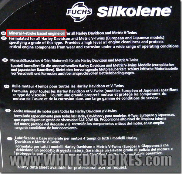 Silkolene mineral oil type - rear view